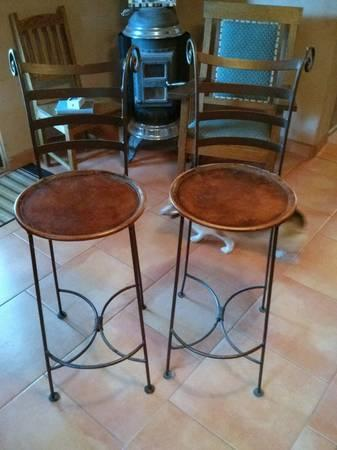 Wrought Iron Bar Stools Rawhide Leather Seats Tall