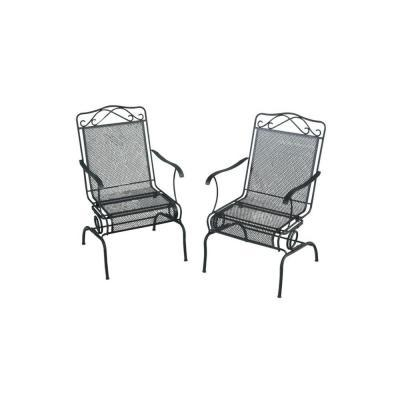Wrought Iron Black Patio Motion Dining Chairs 2-Pack