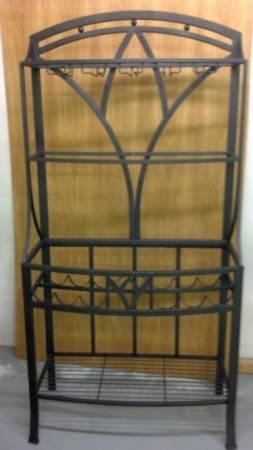 Wrought Iron Glass Top Table, Chairs, Hutch and Bar Stools - $350