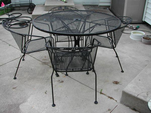 Wrought iron patio furniture set temperance for sale for Metal patio sets for sale