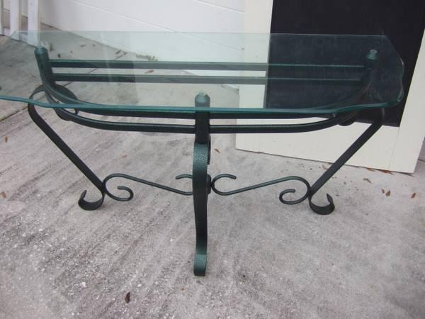 Wrought Iron With Glass Top Hall, Sofa, Half, Accent