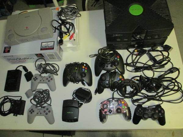XBOX, ORIGINAL PS1 IN BOX, MULTIPLE CONTROLLERS,