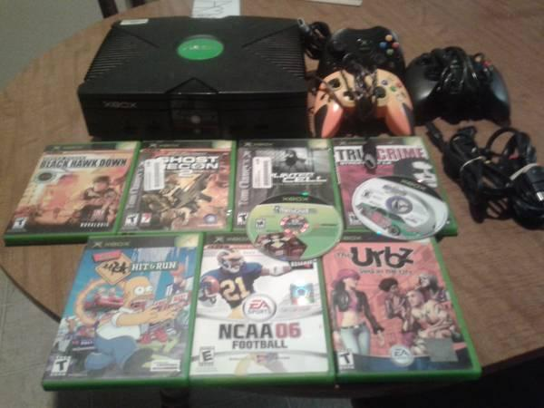Xbox with nine games and three controllers