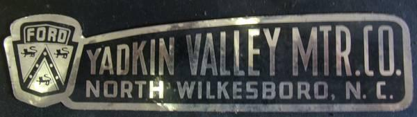 Yadkin Valley Ford dealer sticker NC - $50