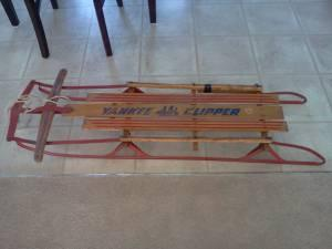 yankee clipper sled wood with metal runners - $10 burlngton