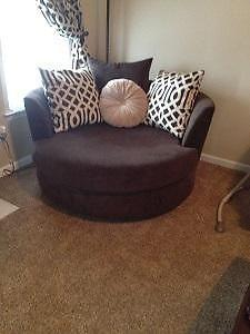 Z Gallerie Cuddler Seat And Corresponding Couch For Sale