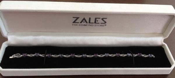 Zales 10k White Gold Tennis Bracelet W Amethyst