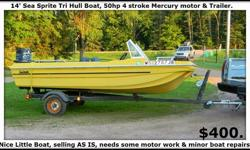 14' Sea Sprite Tri Hull Boat, 50 H.P. 4 Stroke Mercury Motor & Trailer. Also comes with a Humming Bird Fish Locator. Very nice little boat just needs some TLC. Received as a gift but we dont have the