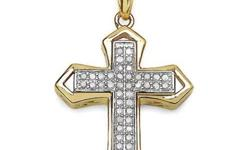 This beautiful cross pendant has Round White Diamonds, 1.10mm 42 /0.29 ctw, With 14K Gold plating backing. Available at ShimmerWear.com
