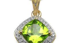 14K Yellow Gold Plated 2.31 Carat Genuine Peridot .925 Sterling Silver Pendant.... FREE SHIPPING! Metal Information: .925 Sterling Silver Setting: Prong Item: Pendant Finish: 14K Yellow Gold Plated Me