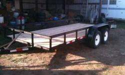 I am selling my 16 ft utility trailer. It has two 3500 lbs axels. ALL NEW. never been used. It is black. Angle iron. can hual anything including a car. Comes with Title. 254-231-6591 // //]]> Location