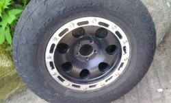 4- 16x8 - 4.625 B.S. Eagle Alloy 137 Wheels - tires are almost done, I can eliminate if needed.  5x4.5 Fits jeep Wranglers, cherokees, ford ranger, and so on  . Suitable shape, couple of areas might u