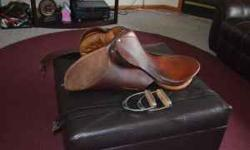 "Used English Saddle all purpose set. Great Christmas Gift!! English saddle, with suede knee rolls very good condition. 18"" seat. Set purchased new 10 years ago for $1000. Haven't ridden in a few years"