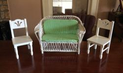 "For Sale: 2 single chairs (fits 18"" dolls such as American Girl Dolls) White whicker sofa with green striped cushions These are in great condition and would make a nice addition for your daughter's do"