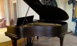 "A beautiful musical performance-grade instrument: a classic 1921 Mason and Hamlin, Model A, 5.8"" Baby Grand, in wonderful condition, inside and out.  A couple of teeny dings on the wood on an edge, vi"