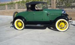 1929 FORD MODEL A ROADSTER. 100% HENRY FORD, IT IS 100% COMPLETE, PAINTED DARK GREEN + BLACK FENDERS, THE PAINT IS BEAUTIFUL, NO SCRATCHES OR CHIPS, NO ORANGE PEEL, NO TOUCH-UP, JUST A VERY NICE PAINT
