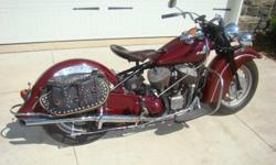 1946 Indian Chief. I have a clear Ohio title in my name. Older restoration done in 1974. It has been ridden less that 500 miles since 1984. It is a matching numbers. It has the Original seat, Carburet