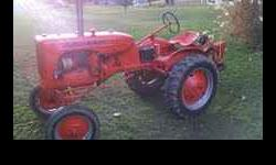 1949 Allis Chalmers B, Was restored four years ago, runs good and is in great shape. It has the adjustable wide front end, and was converted over to a 12 volt system and the head and rear lights work.