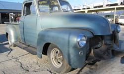 1950 CHEVROLET PICK-UP UP FOR SALE IS A 1950 CHEVY 1/2-TON TRUCK. THE TRUCK HAS A V8 327 CID ENGINE IN IT (NOT ORIGINAL). IT HAS A DARK GREY CLOTH BENCH SEAT IN IT. THE EXTERIOR LOOKS LIKE A TEAL COLO