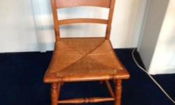 """SOLID MAPLE ANTIQUE DINING SET FROM 1950. ORIGINAL OWNER. LADDER BACK CHAIRS WITH RUSH SEATS, 5 CHAIRS EACH MEASURING 34 1/2 TALL AND FLOOR TO SEAT IS 17"""". SEATS MEASURE 18 X 16. CHAIRS ARE IN VERY GO"""
