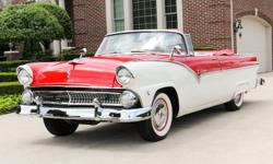 1955 Ford Fairlane Sunliner Convertible! The restoration still   appears quite fresh, and the car is reportedly as impressive underneath as it is on the interior. The powerful 292-  cid, 198-hp V-8 is