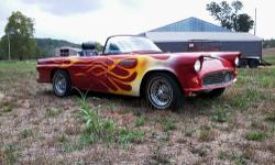 Very nice 55 Ford Tbird w/ 1986 Mustang GT HO drive train. Good condition, lots of work already done but still some more to be complete, detail work. Presentable paint, good driver. Stops well, shifts