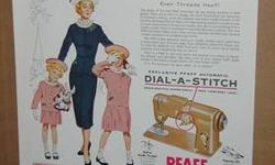 This came out of a 1955 Ladies Home Journal magazine. All ads have For sale is a vintage Pfaff Automatic Dial A Stitch Sewing machine ad.been removed as carefully as possible, some bear some signs of