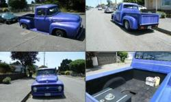 """1956 Ford F100 for sale (CA) - $26,500. Gorgeous restored 56 Ford. has a rebuilt 57 392 himi motor,. with less than 1000 miles on it. Automatic with a 9"""" rear end. Drum brakes on back. 3/4 race camera"""