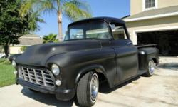 56 GMC/Chevy truck. Totally reconstructed chevy 400ci 4 bolt primary engine with aluminium heads and a mild street camera. Rebuilt 700r4 Transmission. Camaro sub frame. New front and back windscreen,