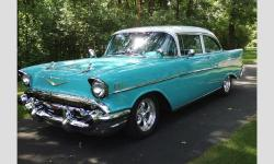 Appraised at $60K total frame-off restoration, 350 w/4 -speed transmission Front disc brakes with 2 in spindles, vintage air, torque thrust aluminum wheels, https://www.cacars.com/Car/Chevy/Bel_Air/2_Door_Sedan/1957_Chevy_Bel%20Air_for_sale_1012174.html