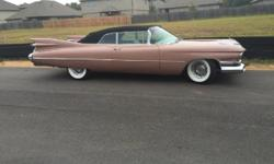 1959 Cadillac 62 Convertible ..Frame Off Restoration ..Car Is Flawless ..A/C ..Persian Sand Paint ..Black Soft Top ..White Leather Interior ..390/325hp V8 Engine ..Automatic Transmission ..Wire Wheels
