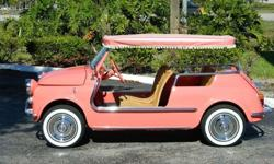 FIAT JOLLY 500 US MODELCORAL WITH CORAL AND WHITE SURREY TOP.BRAND NEW SURREY TOP.4 BRAND NEW WHITEWALL TIRES.BRAND NEW RUBBER FLOOR MATS.FRESHLY TUNED UP AND RUNNING FLAWLESSLY.AN ABSOLUTELY STUNNING