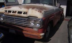 Selling 59 ford f 100 custom-made taxicab orignal in excellent condition. 3 on the tree straight six. has few dents. wheels has been painted new tired. long taxicab. selling as is. no title. costs of