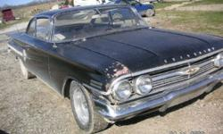 1960 Chevrolet Impala 2DR HT ..348 V8 Engine ..3-Speed Trans ..Power Steering ..Radio ..Dual Rear View Mirror ..Pass side Rear Antenna ..Dual Exhaust ..Chrome Wheels ..Needs New Interior ..Asking $19,