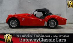 Stock#75FTL This vehicle is located just north of the Sample Road, 2 minutes off the Sawgrass Expressway, in the Coral Springs Corporate Park. 954-227-4202 1960 Triumph TR3 ENGINE: Inline 4 cylinder B