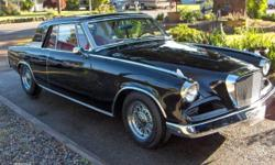 1962 Studebaker GT Hawk, 289-4brl carb, 4 spd Flightomatic (auto) trans. Power steering, drum brakes. Original Carter WCFB 4 brl carbohydrate rebuilt. McClean 15 inch chrome spoked wheels. Twin under