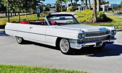 1964 Cadillac deVille Convertible ..33,000 Original Miles ..White Paint Excellent ..Red Leather Interior Excellent ..Red Soft Boot ..New White Soft Top summer of 2014 ..AC ..Fully Optioned ..429/340hp