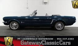 Stock #177-FTL 1965 Ford Mustang 954-227-4202 $19,995 Engine: Inline 6 Cylinder Transmission: 3-Speed Automatic Mileage: 10607 (unknown) Body Style: Convertible Exterior Color: Capsian Blue Interior C