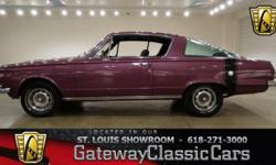 Vehicle is located in O'Fallon, IL - just 15 miles east of downtown St. Louis, MO 618-271-3000 1965 Plymouth Barracuda ENGINE: V-8 Small Block TRANSMISSION: 3-Speed Automatic MILEAGE: 19,400 BODY STYL