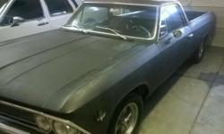 """1966 CHEVY EL CAMINO- TRADE OR SELL Rust, dent, and bondo free 350 V-8 (1970 vintage) new top end Powerglide, P/S, P/B 10 Bolt Posi Factory Air (under hood parts missing) Standing on vintage 14"""" wheel"""