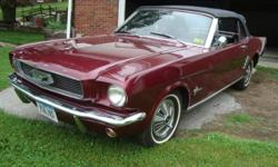 1966 Ford Mustang Convertible ..Original Florida Car ..2 Owner Car ..Owned By 85 Year Old & his wife ..Present Owner owned 3 years ..Factory AC ..Beautiful Burgundy Paint ..One Repaint back to Origina