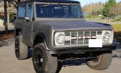 1967 Bronco.Brand New Anodized Carbon Paint.New Interior with All Weather Upholstery.Front Reclining Bucket Seats.Rear Fold-n-Tumble Seat.Fully Lined Floors.Freshly Tinted Windows.New Weatherstrip Thr