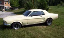 1968 Ford Mustang American Classic 390 S code, V8 engine 4 speed manual transmission Rear wheel drive Exterior is Spring Time Yellow Interior is Black Vinyl bucket seats Power steering Solid body Star