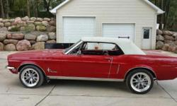 1968 Ford Mustang Convertible ..Beautiful Car ..Beautiful Red Paint ..White Soft Top ..More Information Coming ..More Photos Coming ..Asking $29,500 USD ..Bring on the Offers ..Will Not Last Long ..e-