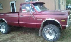This Classic Rock Crawler C10 looks as aggressive as it performs Boasting a Chevy Modified 454 Big Block 4 Speed Transmission and drivetrain front and rear is geared for the impossible Cranberry red e