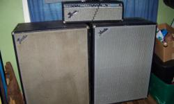 70's Bassman 100 Head w/2/ 4x12 Cabs. SOUNDS Good, SPEAKERS IN GOOD SHAPE. CASTERS ON CABS, EASY TO MOVE,. SOME NEW TUBES, NEW GRILL CLOTH COMES WITH AMP. REMEMBER FENDER IS (KING) This is all from th
