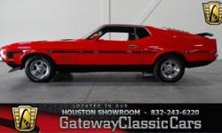 Stock #198HOU Here in the Houston Showroom we have this red hot 1971 Ford Mustang Mach 1! The Ford Mustang Mach 1 is a performance-oriented option package of the Ford Mustang, originally introduced by