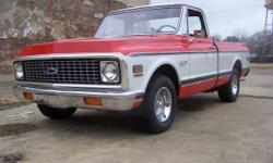 1972 Chevy Cheyenne for sale (AR) - $75,000. '72 Chevy Cheyenne SWB Pick Up. Red & & White exterior paint with Black stock container seats. Has actually been made into a Super which included wood-grai