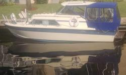 This is a fresh water boat. Not a project, very clean. Everything functions. Chev with Merc I/O 600 Hrs. New:-- Bottom paint, 2 Batteries, Bilge pump, Horn and more. Interior is clean and has no wear.