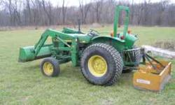 1986 John Deere 1050 33 hp Diesel with front loader. Great Tractor! Brand New Battery. Tractor has turf tires. Just replaced all gear and transmission oil. Just did a motor oil change with all new fil